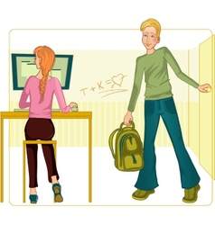 Boy and girl in classroom vector