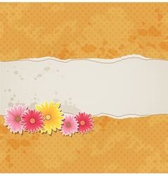 Orange vintage background with flowers vector