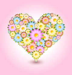 Floral heart flowers vector