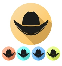 Set flat icons of black cowboy hat vector