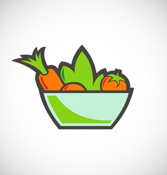 Vegetable salad vegetarian logo vector
