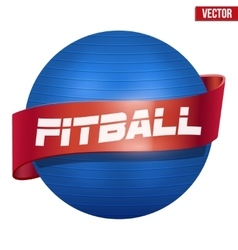 Label of classic blue fitball with ribbon vector