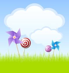 Cloudy spring scene vector