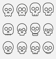 Cartoon skull icon set vector