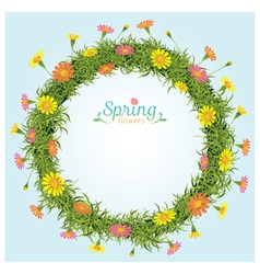 Flowers spring season wreath vector