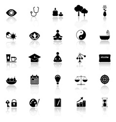 Meditation icons with reflect on white background vector