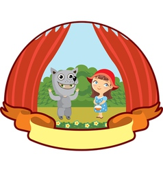 Little red riding hood children teatr vector