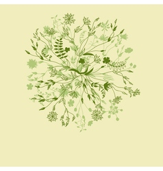 Green nature round floral pattern vector