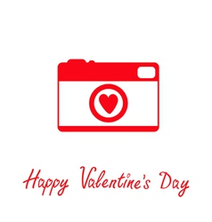 Red and white photo camera with heart valentines vector