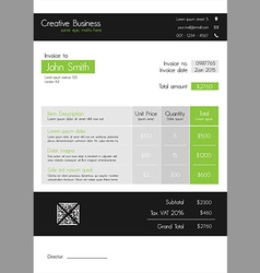 Invoice template - clean modern style of green and vector