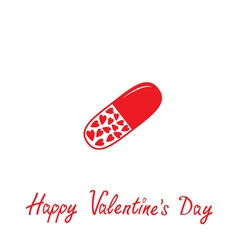 Medical pill with hearts inside valentines day vector