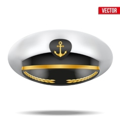 Captain peaked cap with gold anchor on cockade vector