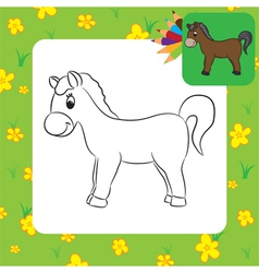 Horse coloring page vector