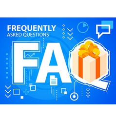 Bright faq and gift box with bow on blue bac vector