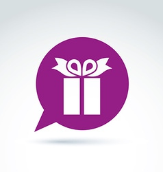 Purple speech bubble with a gift box sign present vector