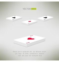 Playing cards deck with ace on top in realistic vector