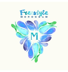 Vintage inspired watercolor freestyle monogram vector