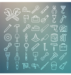Tools and equipment icons set on retina background vector