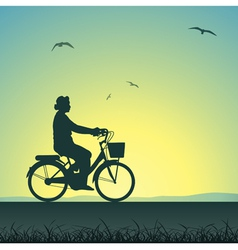 Woman on a bicycle vector