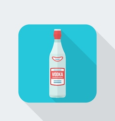 Flat style vodka bottle icon with shadow vector
