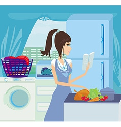 Beautiful housewife cooking vegetables with vector