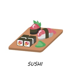 Delicious sushi set food icons japanese food vector