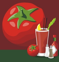 Bloody mary cocktail set vector