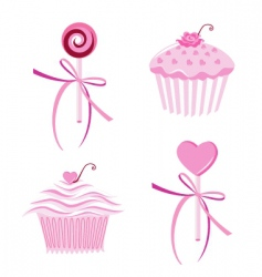 Muffins and lollipops vector