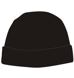 Black winter hat vector