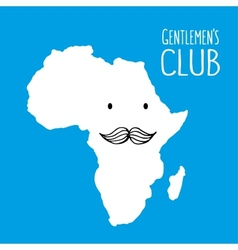 Fun moustache club cartoon africa hand drawn map vector