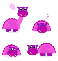 Cute pink dinosaur set isolated on white vector