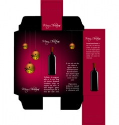 Christmas wine package vector
