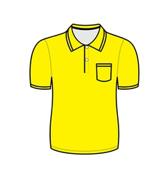 Yellow polo shirt outline vector