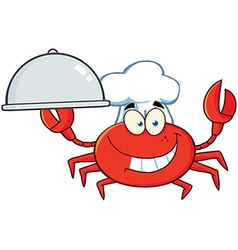 Crab chef character holding a platter vector