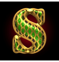Golden and green letter s vector