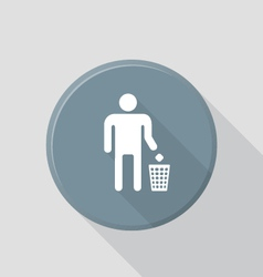 Flat style waste sign icon with shadow vector
