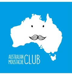 Fun moustache cartoon australia hand drawn map vector