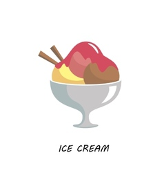 Balls ice cream in a glass container flat vector