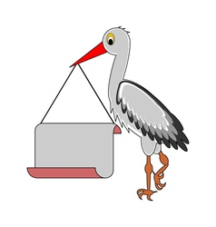 A stork holding a big blank paper in his beak vector