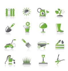 Gardening tools and objects icons vector