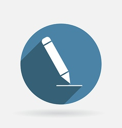 Pen writing on a sheet circle blue icon vector