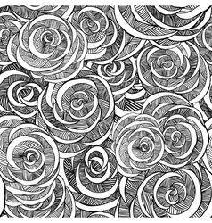 Roses black and white pattern vector