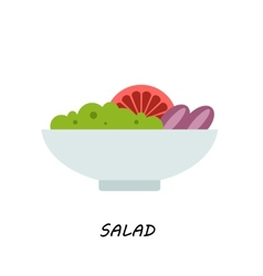 Salad in bowl on white background of vector