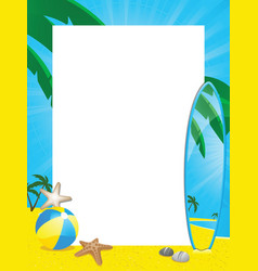 Summer border and surfboard vector