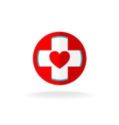 Heart and cross sign vector