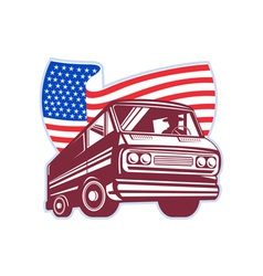 1950s styled station wagon with american flag vector