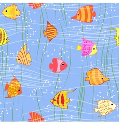 Seamless multicolored tropical fish background vector