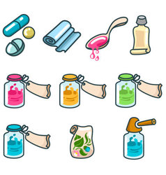 Medicines and pharmaceutical products icon set vector