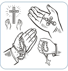 Hands and crosses - vector