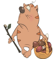 A tabby cat a mushroom picker cartoon vector